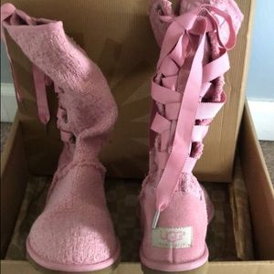 Pink heirloom lace up womens uggs